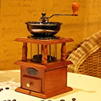 コーヒーミル 手挽き クラシックミル コーヒー用品 コーヒー機 天然木製 粉粗さ調節可