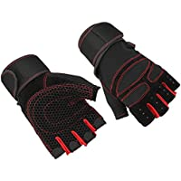 JVSISM Weight Lifting Gym Glove Training Fitness Wrist Wrap Workout Exercise Sports Light red