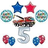10 pc Lego City FireエンジンFiretruck 5th誕生日パーティーバルーンデコレーション供給キット