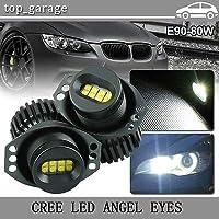 FidgetGear BMW E90 E91 3シリーズのための2x 80W 8LEDクリーエンジェルアイズハローリングホワイト電球