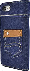 PLATA  iPhone7ケース ポケット 付き デニム ケース ポーチ 手帳型 カバー iPhone 7 【 インディゴ ネイビー 紺 濃い青 】 IP7-5054-B