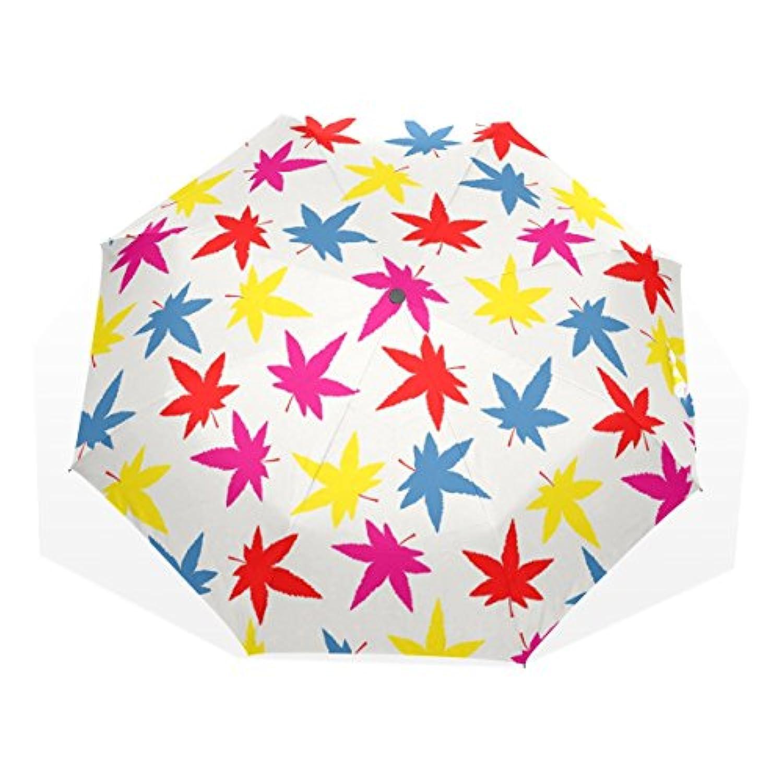 ユキオ(UKIO) 折りたたみ傘 レディース 晴雨兼用 高密度 遮光 手動 遮熱 飛び跳ね防止 梅雨対策 雨傘 日傘 軽量 防風 頑丈 紅葉の葉 収納ケース付