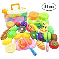 Magic House おままごと 31個セット ごっこ遊び 収納ボックス 切れる 野菜 果物 カニ パン 知育玩具 二人遊びセット 子供へのプレゼント
