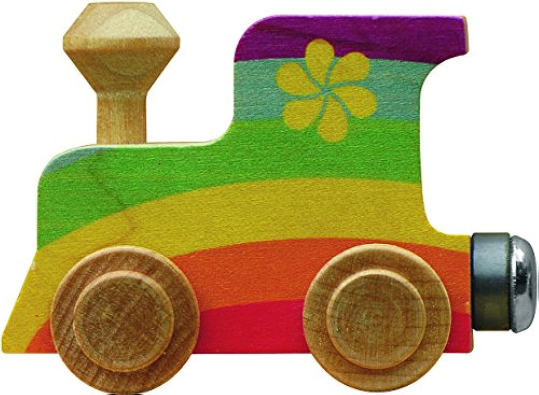 【米国正規商品?並行輸入】ネームトレイン 木製おもちゃ NameTrain Rainbow Engine レインボー 機関車