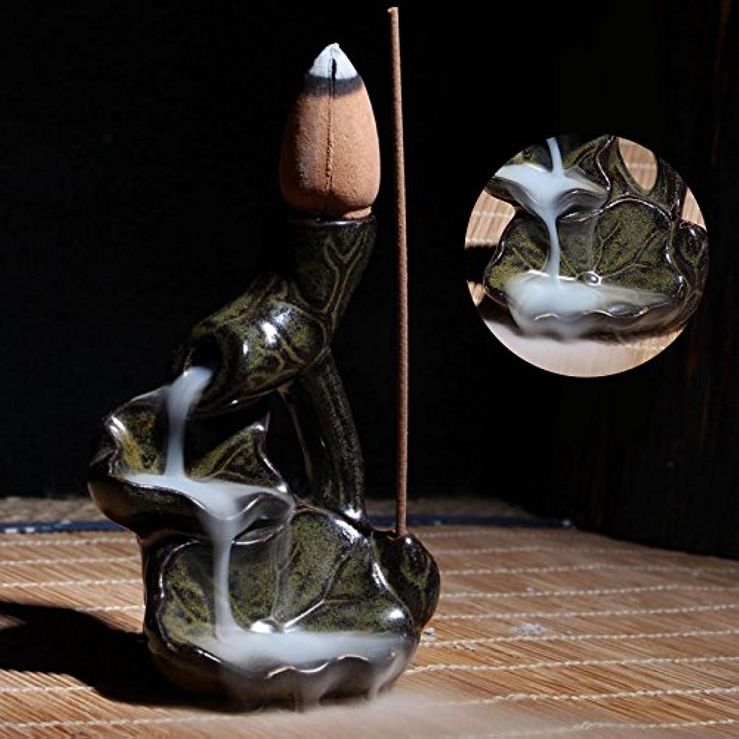 写真を描くトロリーバスおもちゃWater LilyセラミックGlaze逆流香炉ホルダーBuddhistコーン香立て