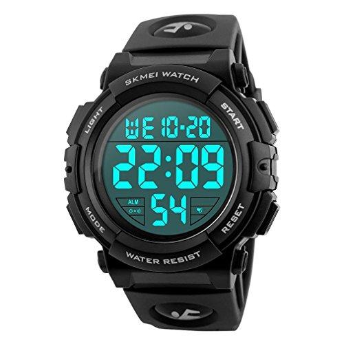 Timever(タイムエバー)デジタル腕時計 メンズ 防水腕時計 led watch スポーツウォッチ アラーム ストップウォッチ機能付き 50M防水時計 文字が大きくて見やすい (ブラック)