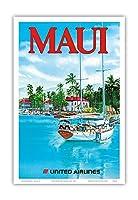 マウイ島 - ユナイテッド航空 - ラハイナ港埠頭で帆船 - ビンテージなハワイの旅行のポスター によって作成された ヘーゲル c.1977 - アートポスター - 23cm x 31cm
