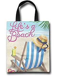 WACRDG Shopping Handle Bags,Life Is Better At The Beach Personalized Tote Bag