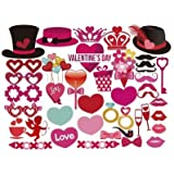 DIY バレンタインデー 写真ブース小道具 ファンキーでクリエイティブ バレンタインフォトブース小道具 楽しくヒップなパーティー記念品 パーティー装飾小道具