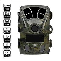 2.4インチ16MP 1080 P IRナイトビジョン狩猟用トレイルカメラ、屋外森林用防水フォトトラップ偵察ハンターシャッセ、32 Gメモリカード付き120°広角デジタルカメラ