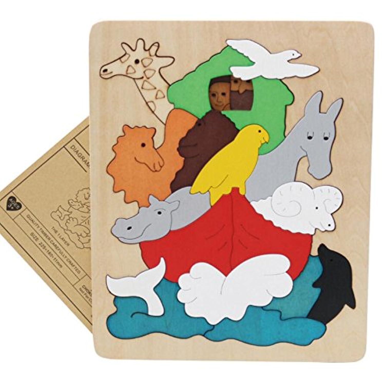HuaQingPiJu-JP 創造的な木製の3D教育パズルアーリーラーニング番号の形の色の動物のおもちゃキッズのための素晴らしいギフト(動物の世界)