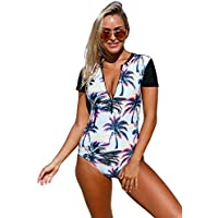 EVALESS Womens Beach Sunset Printed Zip Front Short Sleeve One Piece Swimsuit Bikinis XX-Large