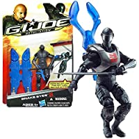 "Hasbro Year 2011 G.I. JOE Movie Series ""Retaliation"" 4 Inch Tall Action Figure - SNAKE EYES with 5 Feet String Zip Line,"