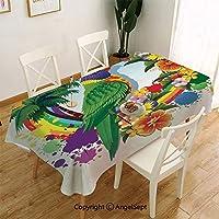北欧 テーブルクロス 120x150cmテーブルカバー 綿麻 耐熱 防油 厚手 コットンリネン 格子縞 天然素材 オウムの装飾ヤシの木と虹の輪のオウムロリキート熱帯植物花カラフルなアートプリントマルチ