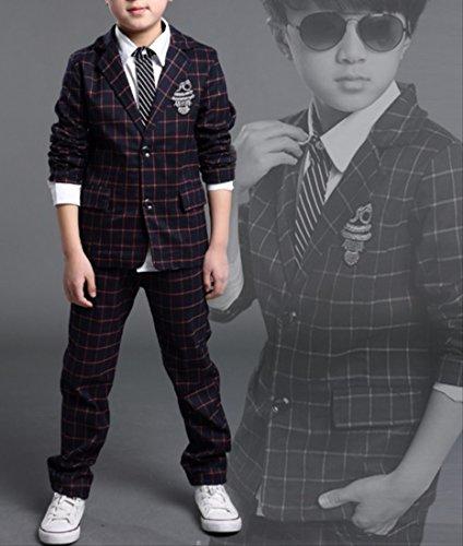 [笑顔一番] 男の子 チェック柄 フォーマル スーツ 上下2点 + 蝶ネクタイ セット / 入学式 結婚式 発表会 ブライダル 七五三 記念日 キッズ ボーイズ (サイズ: 120 ~ 160 ) [A145-11] レッド格子 160cm