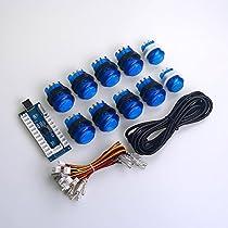 Easygetゼロ遅延LEDアーケードゲームDIYパーツ 10 X LEDは押しボタンを照明した すべてのwindowsシステムをサポートできる MEME&格闘ゲーム向け -- 青