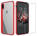 AUNEOS iPhone X ケース iPhone X カバー 二重構造 PCとTPU素材 軽量 超薄型 衝撃吸収 擦り傷防止 アイフォンX ガラスフィルム 付き(赤い)