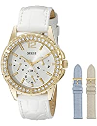 GUESS Women's U0620L2 Interchangeable Gold-Tone Watch with Ice Blue Diamond Dial