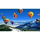絵画風 壁紙ポスター (はがせるシール式) 壮大なアルプスの気球 バルーン ファンタジー キャラクロ SHAB-003S1 (1023mm×576mm) 建築用壁紙+耐候性塗料