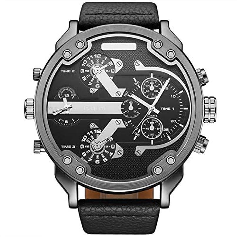 魅了する立方体トレイDeeploveUU 3548特別デザインメンズ2ムーブメント腕時計ビッグラウンドシェイプケースレザーストラップオスクォーツ腕時計