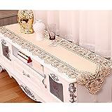 yazi-欧風 上品 テーブルランナー テーブルセンター 刺繍 コーディネート 40cmx175cm(タッセル付き)