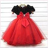 【ノーブランド品】子供・ベビードレス(赤×黒)130cm