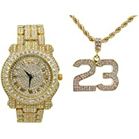 Bling-ed Out Rapper Favorite - The Luckiest #23 Ice'd Out Pendent with Gold Tone Necklace and Fully Bling'd Out Luxurious Gold Watch!! - L0504-SSS05 Gold