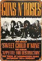 Shimaier 壁の装飾 メタルサイン 1988 Guns 'N Roses at Donington Park ウォールアート バー カフェ 縦30×横40cm ヴィンテージ風 メタルプレート ブリキ 看板
