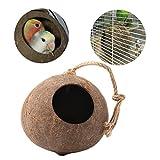 Kicode ナチュラル ココナッツの殻 鳥の巣 ハウス小屋 ケージフィーダー ペットのオウムbudgieにするためのおもちゃ インコオカメインコConure