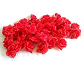 【glaystore】 バラ 造花 ローズ 薔薇 アレンジ 8センチ 50個セット 結婚式 2次会 パーティー ブライダルイベントに (デンスレッド)