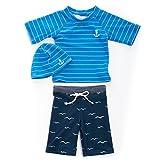 子供 水着 男の子 sandia(サンディア) ピンボーダー UV ラッシュガード パンツ セット キャップ付き 130