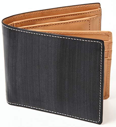(ポルトラーノ) portolano ブライドルレザー 二つ折り財布 財布 改良版 イタリア革 本革 牛革 大容量 カード15枚収納 ボックス型コインケース メンズ ブランド (ブラック)