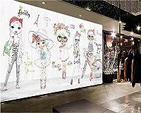 Mbwlkj 古典的なファッションシニアの壁紙手描きの子供女の子ファッションショーの背景Wall3D壁紙-150cmx100cm