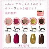 【送料無料 日本製】Salone ブロックネイル カラージェル5個セット ネイルのマストデザインブロックネイルカラー