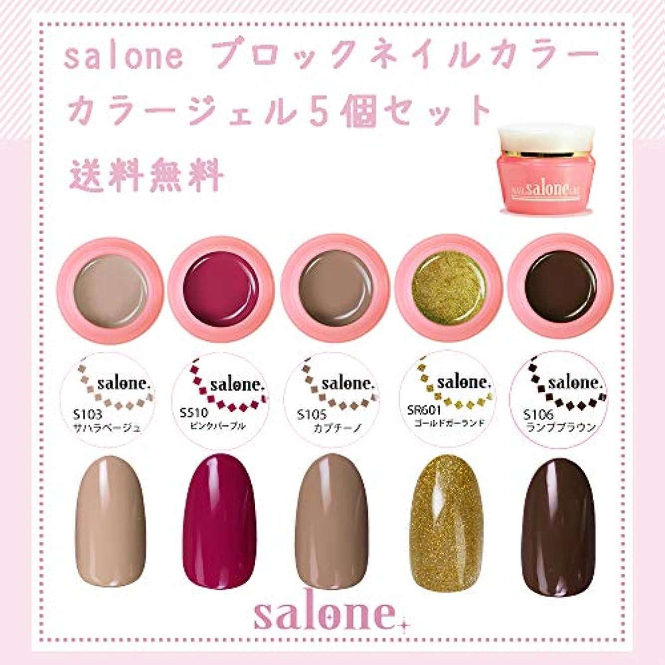 不正レルム小道【送料無料 日本製】Salone ブロックネイル カラージェル5個セット ネイルのマストデザインブロックネイルカラー