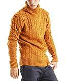 タートルネック ケーブル編み ニット メンズ セーター カラーニット ニットソー 長袖 カジュアル ストリート アメカジ 防寒 秋冬 ダークキャメル XLサイズ