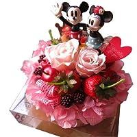 誕生日プレゼント 彼女 ディズニー フラワーギフト ミッキー&ミニー フルーツいっぱいのケーキのプリザーブドフラワー 誕生日プレゼント・記念日の贈り物におすすめ.