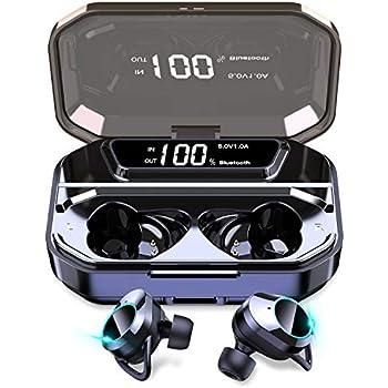 【令和最新版 LEDディスプレイ Bluetooth イヤホン】 ワイヤレスイヤホン Hi-Fi 高音質 ステレオサウンド AAC対応 5000mAh大容量充電ケース付き 完全ワイヤレス イヤホン 電池残量インジケーター付き Bluetooth5.0+EDR搭載 自動ペアリング 両耳 左右分離型 CVC8.0ノイズキャンセリング対応 IPX7防水 ブルートゥース イヤホン Siri対応 落下防止 マイク内蔵 技適認証済 iPhone/iPad/Android適用 (ブラック)