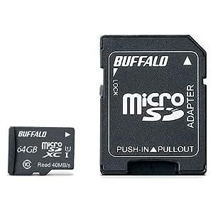 BUFFALO UHS-I Class1 microSDカード SD変換アダプター付 64GB RMSD-064GU1SA/N [フラストレーションフリーパッケージ(FFP)]