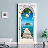 Mingld Pvc壁紙現代のヤシの海写真壁画リビングルームの寝室のホテルのドアのステッカー自己接着防水壁紙3D-350X250Cm
