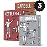 NewMe Fitness Exercise Cards 3 Pack of 62 :: Barbell, Dumbbell, Kettlebell :: 50 Strength Training Exercises a Total Body Workout :: Extra Large, Waterproof & Durable Diagrams & Instructions