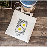 Has Many Uses Female Funny Eggs Printed Canvas Shoulder Bag School File Shopping Travel Beach Handbag (White Glue)