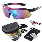 (フェリー) FERRY 偏光レンズ スポーツサングラス フルセット専用交換レンズ5枚 ユニセックス ピンク/ブラック