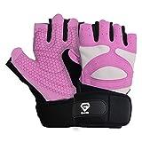 GronG(グロング) トレーニンググローブ 筋トレグローブ メンズ レディース 両手 リストラップ付き ピンク Sサイズ