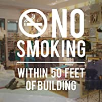 Ansyny 建築看板の50フィート以内の禁煙 - 店ビジネスビニールデカールステッカーガラスドア窓ステッカー用店舗オフィス42 * 50センチ