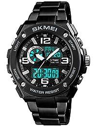 e6a07d3a35 腕時計 デジアナ メンズ 三地時間帯表示 スポーツ クロノグラフ アラーム カウントダウン 夜光 ...