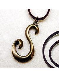 ネックレス メンズ [key67]アンティーク アルファベット イニシャル ネックレス 本革