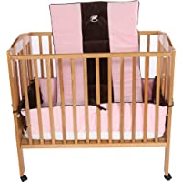 Baby Doll Bedding Cozy Carousel II Minky with Embroidery Mini Crib/Port-a-Crib Bedding Set, Pink [並行輸入品]