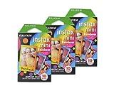 富士フィルム Instax Miniフィルム インスタントフィルムカメラ用 - レインボー、10枚/パックx 3(合計30枚)