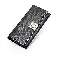 ロングウォレット女性本物の柔らかい革の財布のクラッチマルチカラーの財布 (Color : ブラック)